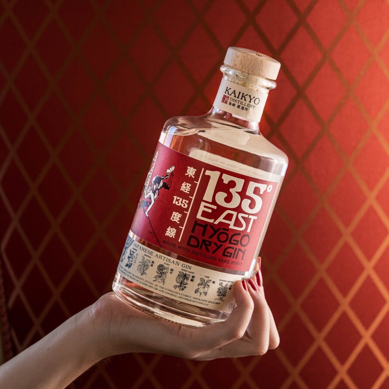 135˚ East Hyōgo Dry Gin bottle in hand